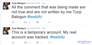 Tee Billz Denies Scandalous Rants About Tiwa Savage, Says His Account Was Hacked